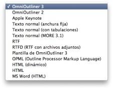 Exportar con OmniOutliner