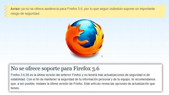 Ya no habrá soporte para Firefox 3.6