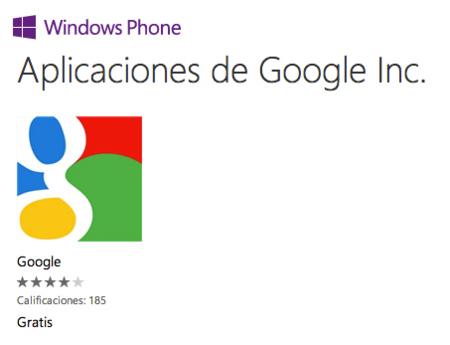 Google no tiene planes de lanzar sus aplicaciones en Windows Phone 8