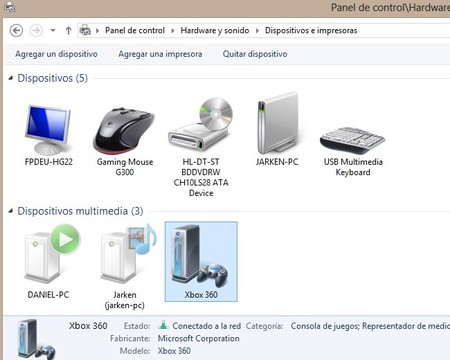 Xbox 360 en dispositivos multimedia de Windows 8