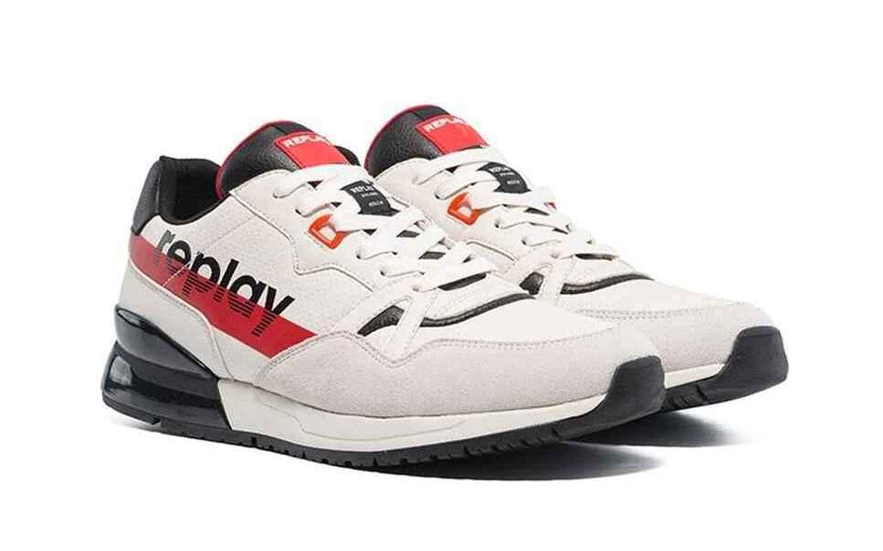 Zapatillas deportivas de hombre Replay combinada con serraje en blanco