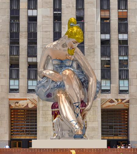 Arte efímero: una bailarina hinchable toma el Rockefeller Center