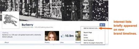 Facebook también prueba una funcionalidad de listas para páginas
