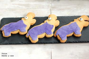 Galletas de hipopótamos decoradas con fondant. Receta para hacer con niños