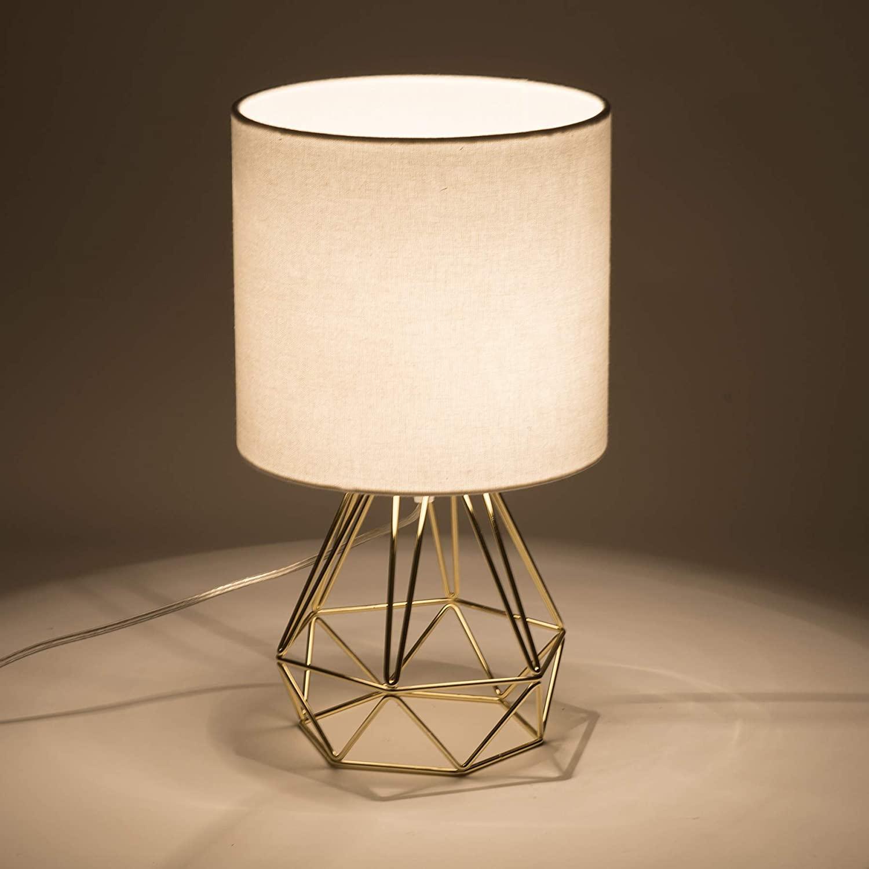 Valens 2PCS Lámpara de Mesa Diamante E27 Lampara para Mesillas de Noche Lámpara de Mesa en Forma de Diamante Mini Lámpara de Mesa Vintage (Dorado, 2 pcs)