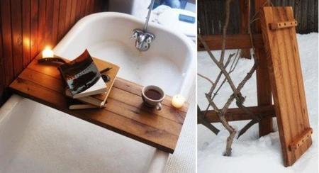 Bandeja rústica para la bañera