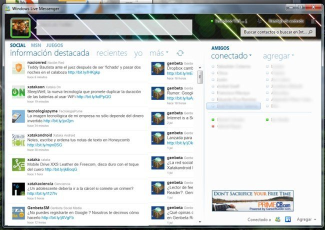Twitter en Windows Live Messenger