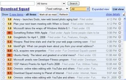Filtra las entradas de Google Reader con AideRSS