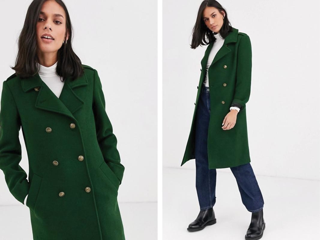 Abrigo en mezcla de lana estilo militar con ribete en contraste de Gianni Feraud
