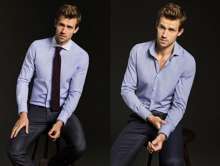 camisa cuadros azul massimo dutti