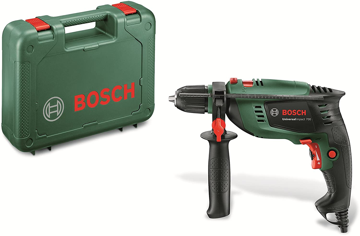 Bosch Universal Impact 700 - Hammer Drill (700 W, Additional handle, Depth stop, Carrying case)
