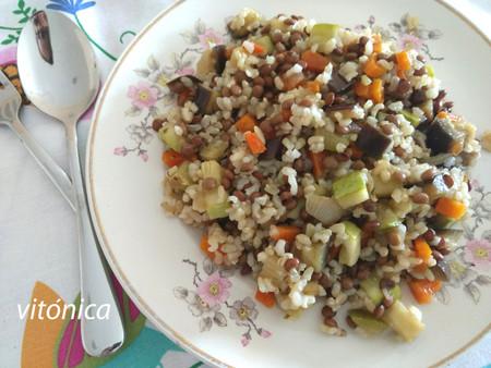 Salteado De Arroz Integral Lentejas Y Vegetales Receta Vegana Saludable