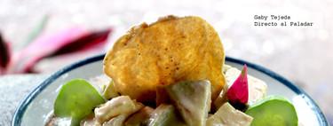 Receta de chayotes en salsa de queso y jamón endiablado
