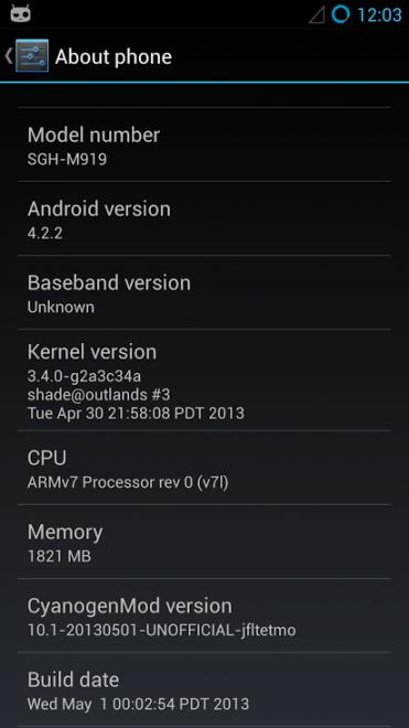 CyanogenMod en SGS4