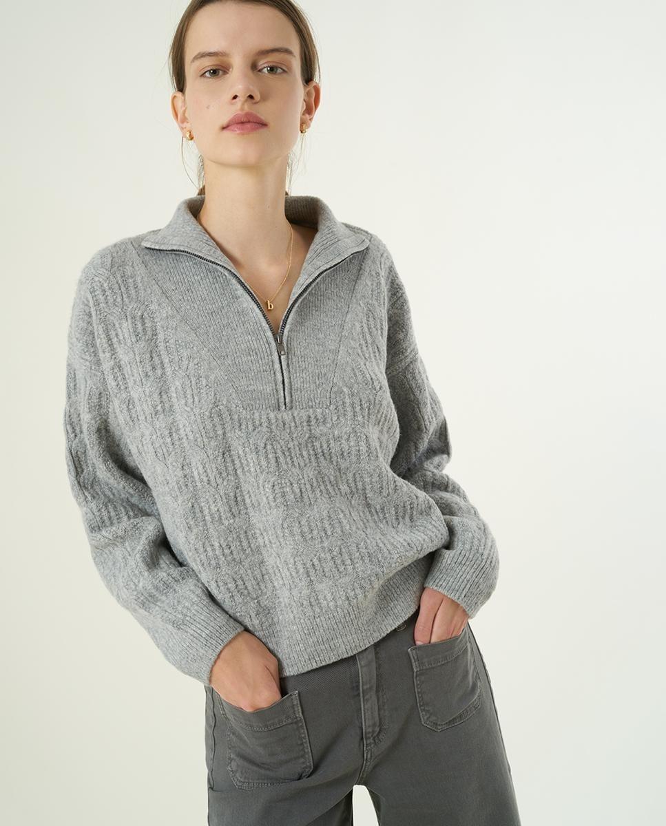 Jersey corto con cremallera en el cuello