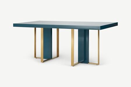 Mesa de comedor de 6 plazas Arpen, azul cerceta y latón
