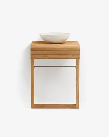 Kuveni Mueble de baño de pared Kuveni de madera maciza de teca 60 x 80 cm
