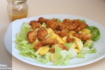 Receta de ensalada de pollo panko y mango