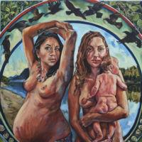 Dos mujeres, cuervos y bebés