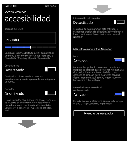 Desactivar Narrador (Windows Phone)