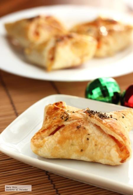 Pañuelos hojaldrados de jamón, queso y piña. Receta