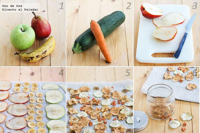 Receta de chips de frutas y verduras paso a paso