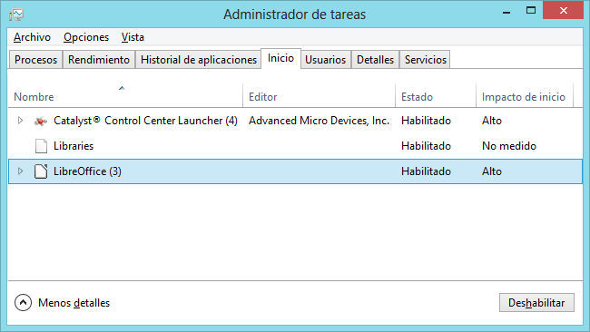 Administrador de tareas de Windows 8
