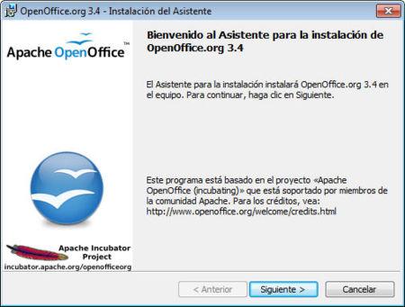 Apache OpenOffice 3.4.0, asistente de instalación