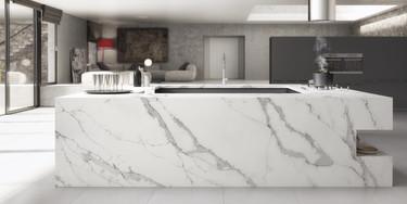 Unique Calacatta, belleza de mármol y resistencia de cuarzo para baños y cocinas