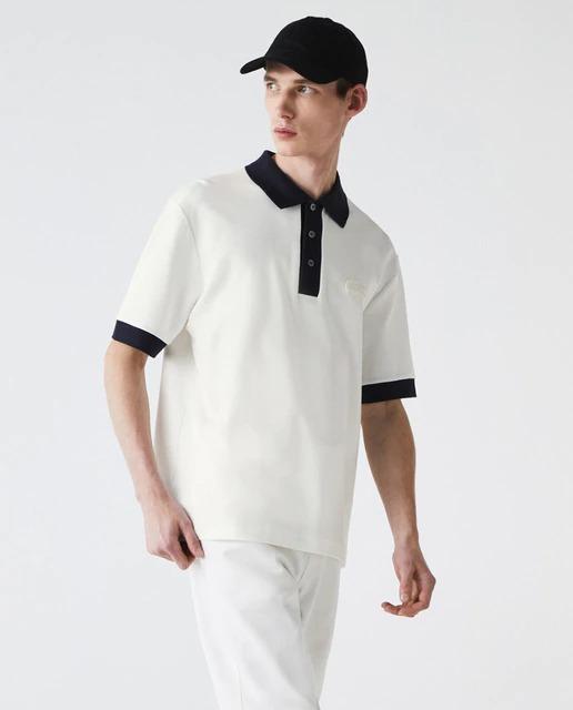Polo de hombre loose en piqué blanco de manga corta