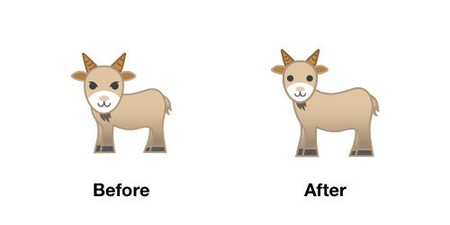 Goat Emoji Android P Before After
