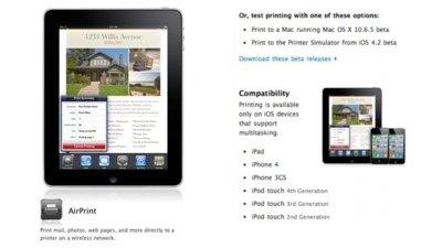 AirPrint no será compatible con el iPod Touch de segunda generación