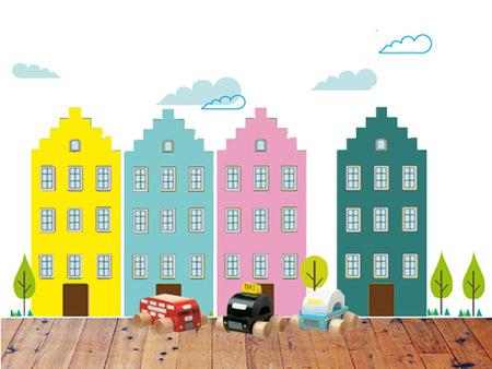 Crea una pequeña Amsterdam con vinilos en la habitación infantil