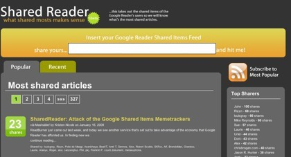Shared Reader, otro memetracker de los artículos compartidos desde Google Reader