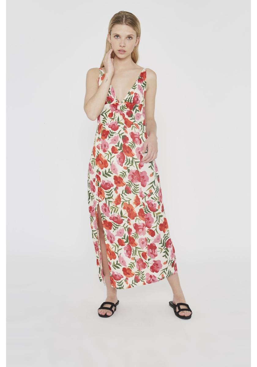 Vestido de flores con escote en pico y abertura en la falda