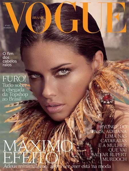 Ave del paraíso, vuela, vuela. Adriana Lima para Vogue Brasil
