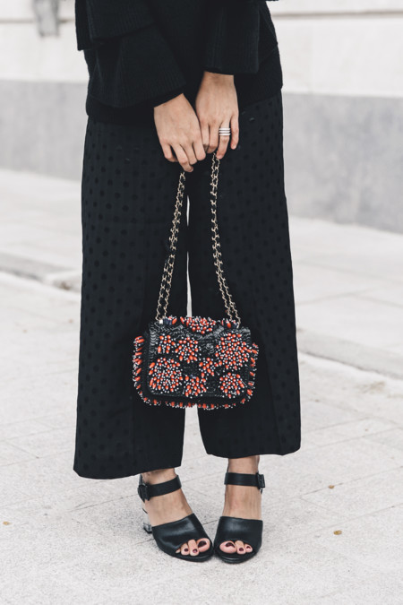 Ruffled Sleeves Jumper Black Culottes Dune Sandals Beaded Bag Outfit Collage Vintage Street Style 31