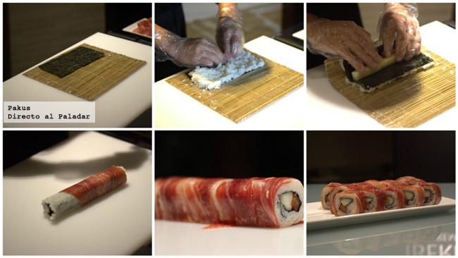 maki rolls de jamón ibérico