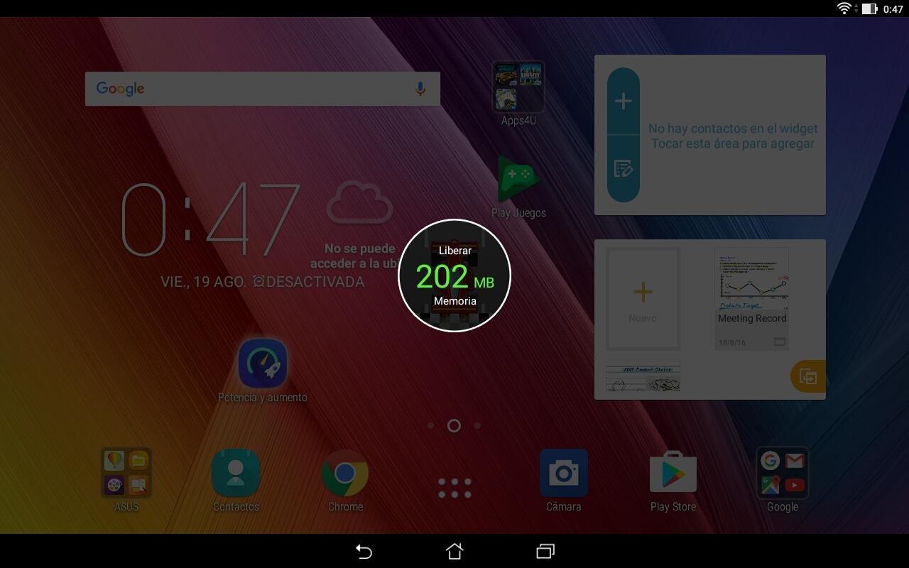 Asus ZenPad 10 (Z300M), interfaz