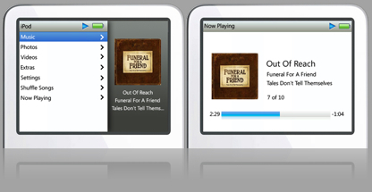 Interfaz del iPod classic en el iPod video
