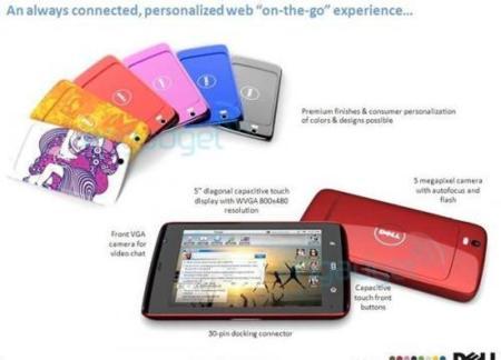 Dell Mini 5 filtrado (Streak), se confirman especificaciones y se descubren nuevos acabados
