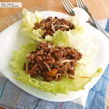 Tacos orientales de lechuga y carne. Receta