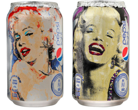 Marilyn Monroe en las latas de Pepsi Light