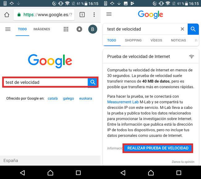 Test Velocidad Google