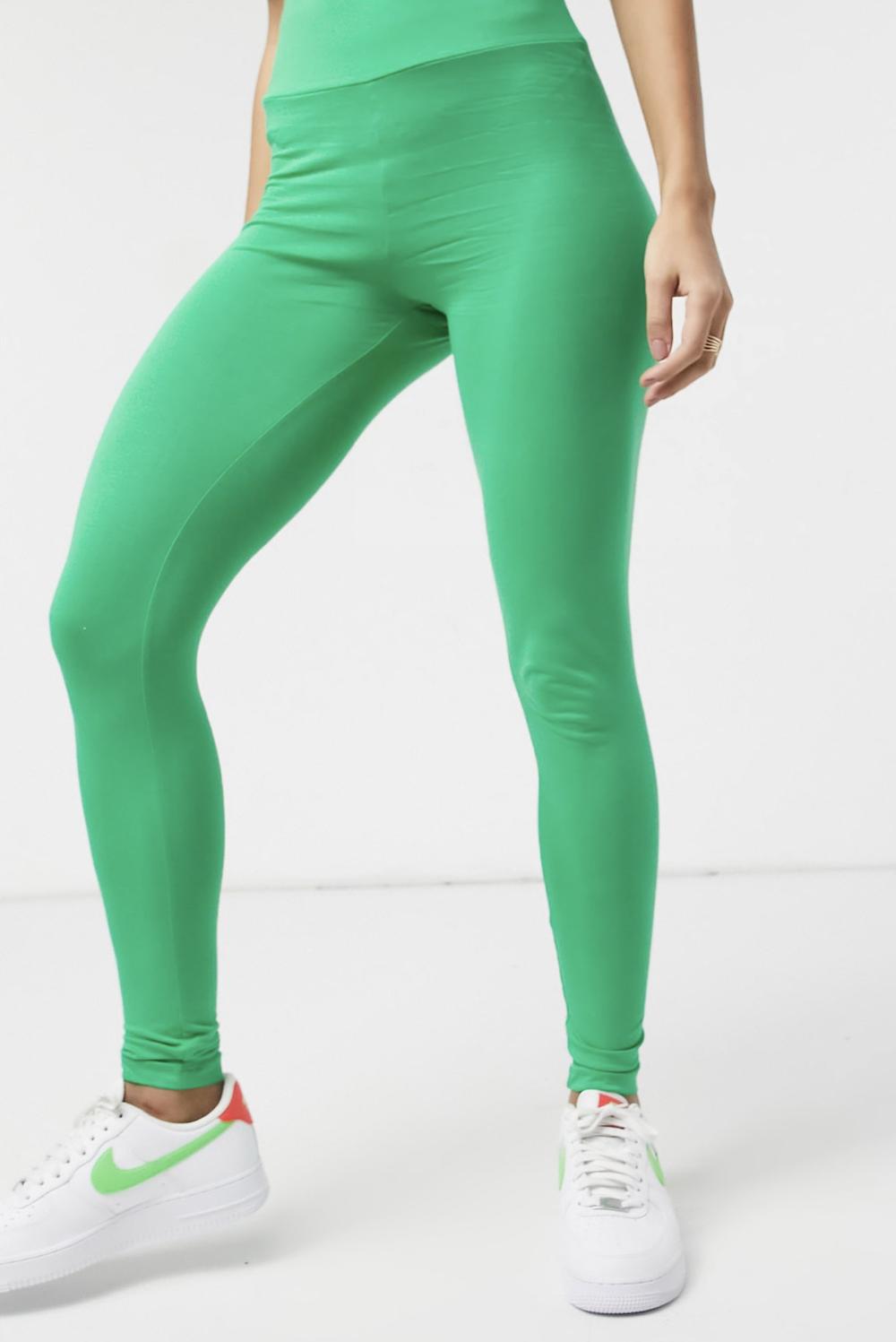 Leggings color verde luminoso con cinturilla ancha de ASOS DESIGN