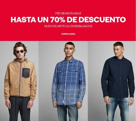 Mid Season Sale en Jack & Jones con camisetas, sudaderas y chaquetas rebajadas hasta un 70%
