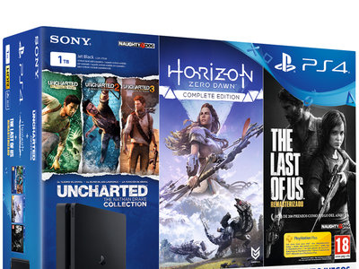 Oferta Flash: pack PlayStation 4 Slim de 1TB + 5 juegos por 299,90 euros en El Corte Inglés