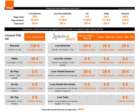 Precios Huawei P20 Lite A Plazos Con Tarifas Orange