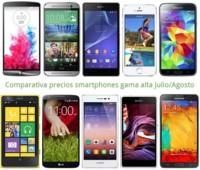 Comparativa Precios LG G3, Galaxy S5, One M8, Xperia Z2, iPhone 5s y otros gama alta en verano