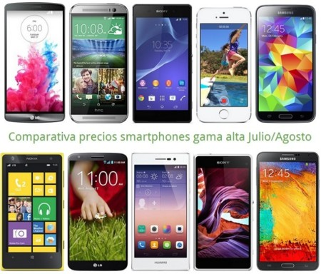 393d1ebb7be Comparativa Precios LG G3, Galaxy S5, One M8, Xperia Z2, iPhone 5s y otros  gama alta en verano